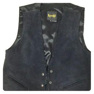 Learsi leather/suede black vest size M